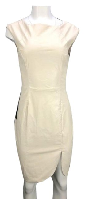 Item - Cream Faux Leather Sleeve Short Night Out Dress Size 4 (S)