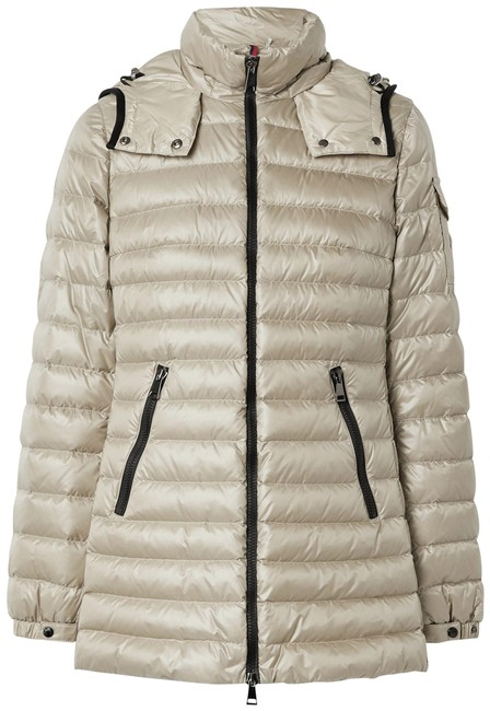 Item - Beige Menthe Hooded Quilted Shell Down Jacket Coat Size 12 (L)