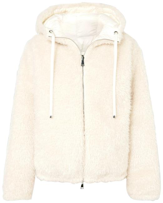 Item - White Reversible Hooded Faux Shearling Quilted Down Jacket Coat Size 12 (L)