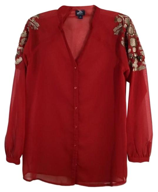 Preload https://img-static.tradesy.com/item/27946698/authentic-icon-red-sheer-gold-print-long-sleeves-button-down-top-size-8-m-0-1-650-650.jpg