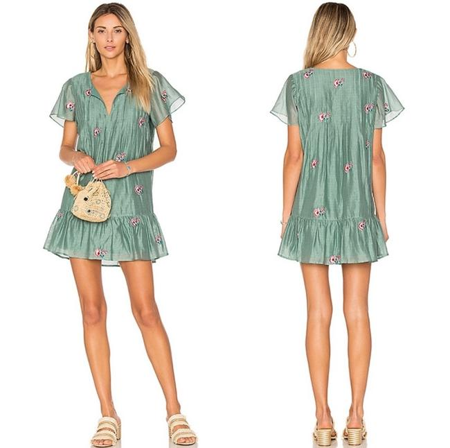 Item - Green Carson Embroidered Short Casual Dress Size 0 (XS)