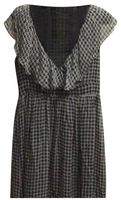 Item - Black/Gray Houndstooth Silk Mid-length Short Casual Dress Size 6 (S)