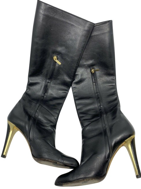 Item - Black Leather Knee High Boots/Booties Size US 7.5 Regular (M, B)