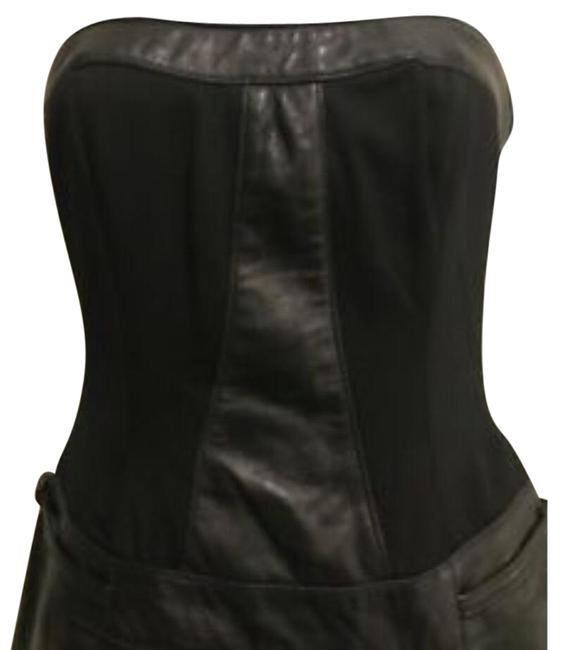 Item - Black Faux Leather Strapless Short Casual Dress Size 6 (S)