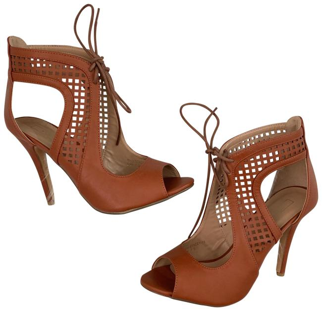 Yoki Brown Open Toe Perforated Cognac Heels Pumps Size US 7.5 Regular (M, B) Yoki Brown Open Toe Perforated Cognac Heels Pumps Size US 7.5 Regular (M, B) Image 1