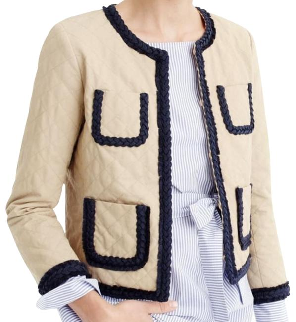 J.Crew Khaki Quilted Safari Tan Cropped Jacket Navy Braided Trim Coat Blazer Size 2 (XS) J.Crew Khaki Quilted Safari Tan Cropped Jacket Navy Braided Trim Coat Blazer Size 2 (XS) Image 1