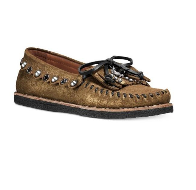Coach Gold New Roccasin Studded Fringe Moccasin Flats Size US 7.5 Regular (M, B) Coach Gold New Roccasin Studded Fringe Moccasin Flats Size US 7.5 Regular (M, B) Image 1
