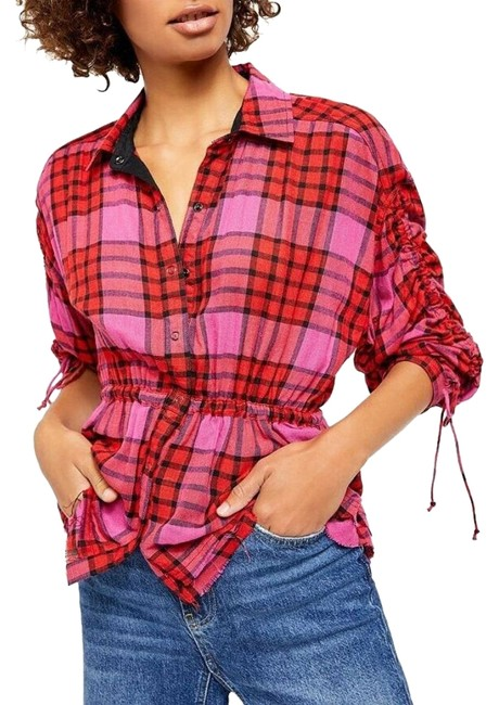 Item - Red Pacific Dawn Plaid Snap Button Shirt Button-down Top Size 8 (M)