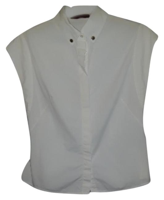 Item - White Sleeveless Classic Button Front Shirt Button-down Top Size 8 (M)