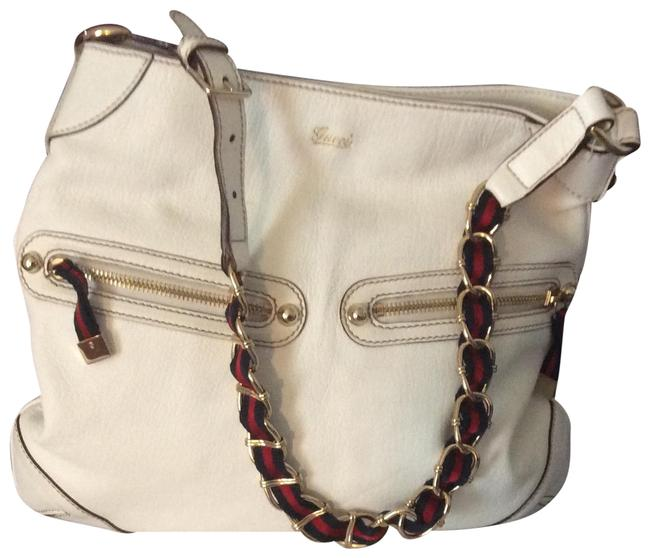 Gucci Web Stripe White Leather Shoulder Bag Gucci Web Stripe White Leather Shoulder Bag Image 1