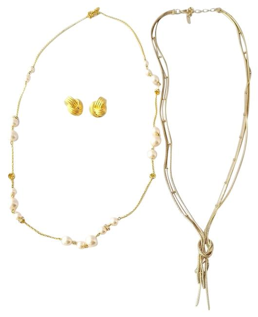 """Item - Gold & Sugar Fix (Both 36"""") & 1"""" Tone Knot Earrings Necklace"""