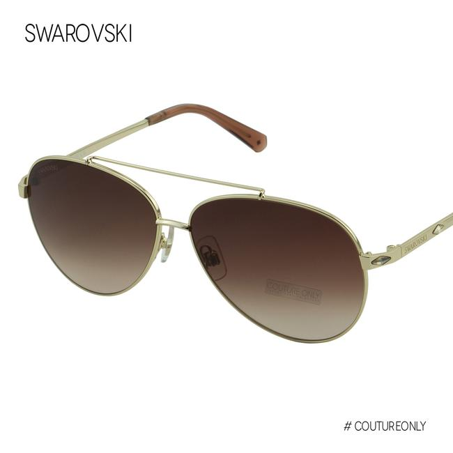 Item - Gold New Gradient Metal Champagne Crystals Aviator Sk-0194 Sunglasses