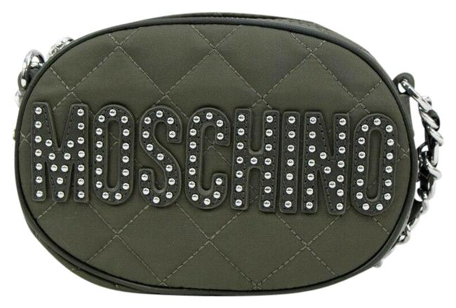 Item - Quilted Oval with Studded Green/Silver Leather Cross Body Bag