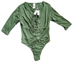 Free People Lace Up Bodysuit Top Green