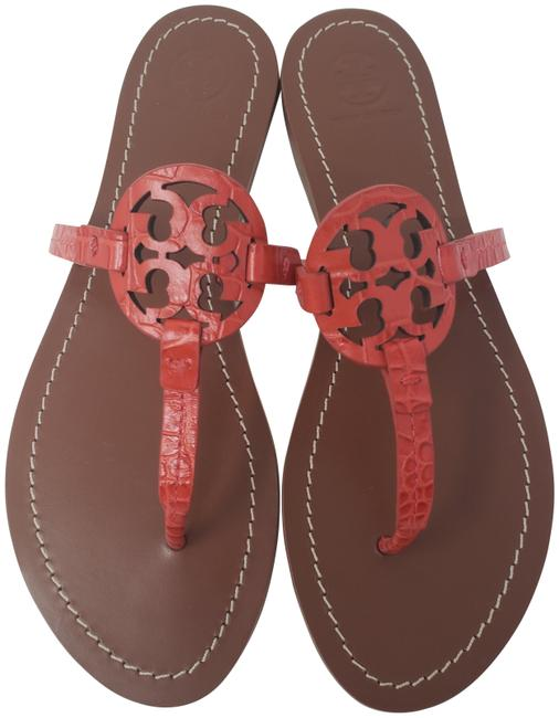 Tory Burch Red Embossed Leather Gabriel Logo Sandals Size US 8.5 Regular (M, B) Tory Burch Red Embossed Leather Gabriel Logo Sandals Size US 8.5 Regular (M, B) Image 1