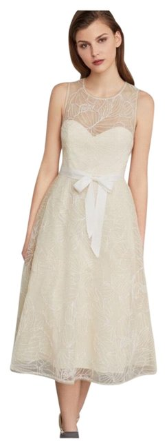Item - Cream Gold Metallic Embroidered Long Formal Dress Size 12 (L)