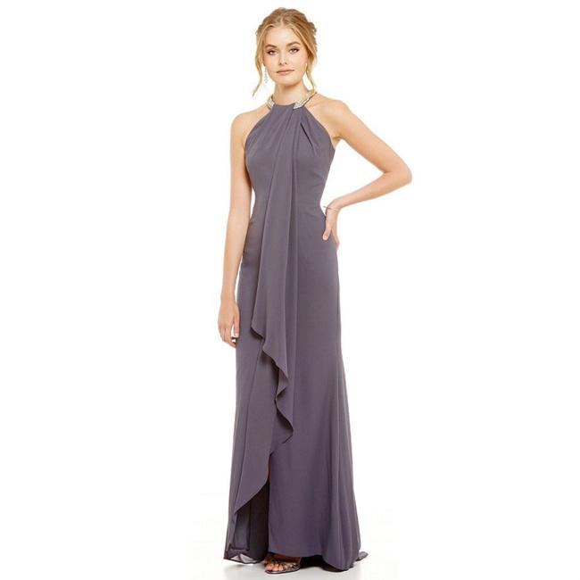 Item - Gray Beaded Halter Neck Ruffle Front Long Night Out Dress Size 2 (XS)