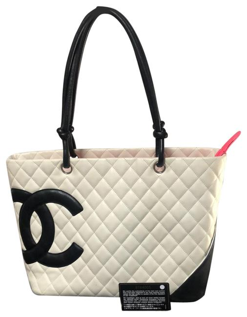 Item - Cambon Shopping Shoulder Tote White/ Black Lambskin Leather Satchel