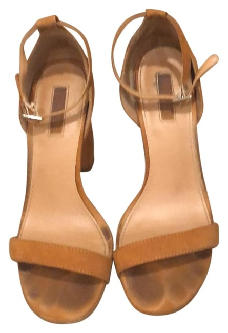 Item - Brown Faux Suede Strappy Heels Formal Shoes Size US 7.5 Regular (M, B)