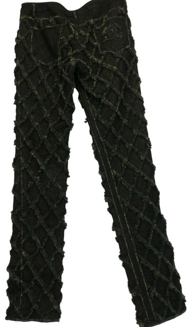 Item - Black/Gold Light Wash P39633 Quilted Glitter Cc Logo Denim 42 Italy Straight Leg Jeans Size 16 (XL, Plus 0x)