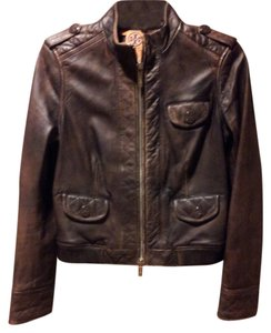 Tory Burch Distressed Quilted Leather Chocolate Brown Leather Jacket