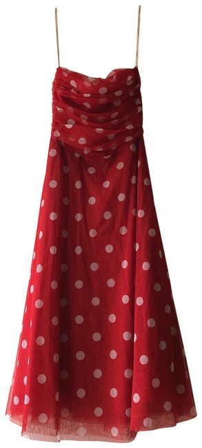 Item - Red & White Polka Dot Mid-length Short Casual Dress Size 6 (S)