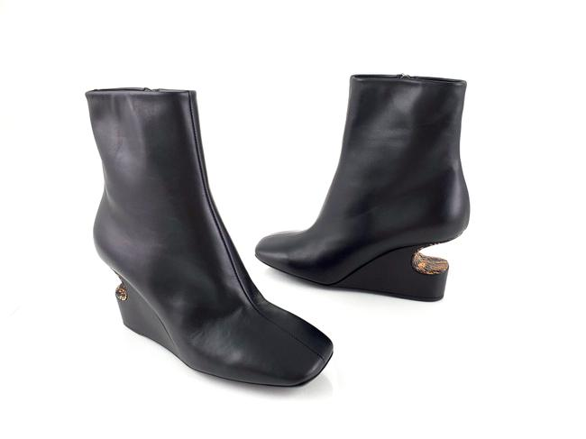 Item - Black Cut Out Wedge Python Heels Ankle Boots/Booties Size EU 38.5 (Approx. US 8.5) Regular (M, B)