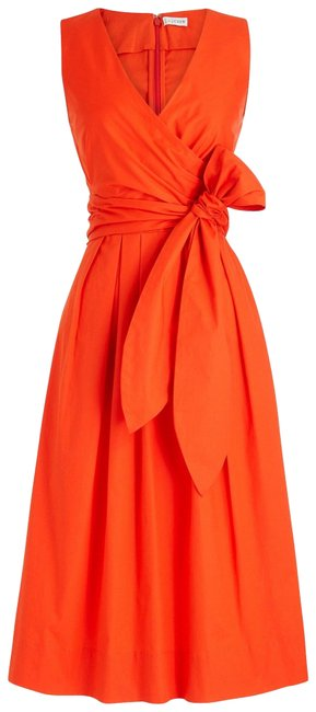 Item - Red Wrap Top Shirt In Stretch Cotton Mid-length Casual Maxi Dress Size 4 (S)