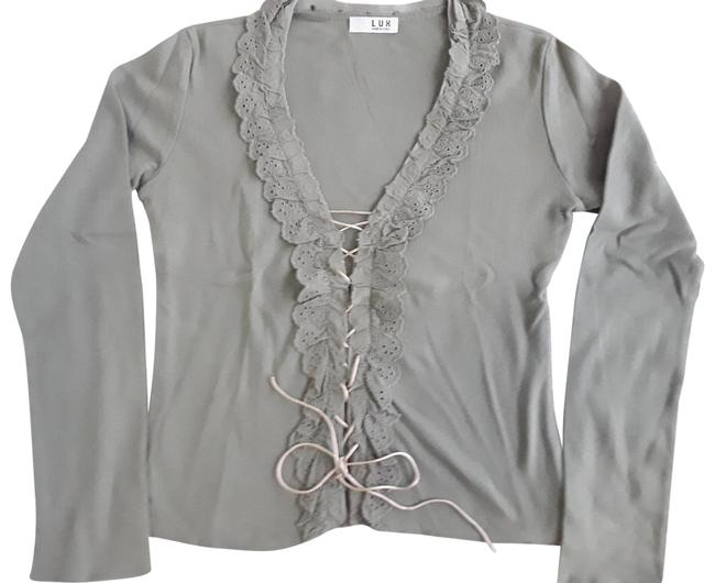 Item - Olive Laced Open Front Italian Blouse Size 10 (M)