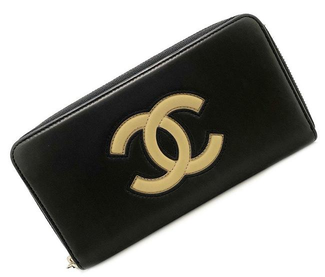 Item - Beige / Black Long Round Zipper Cocomark 22s Calfskin Leather Wallet