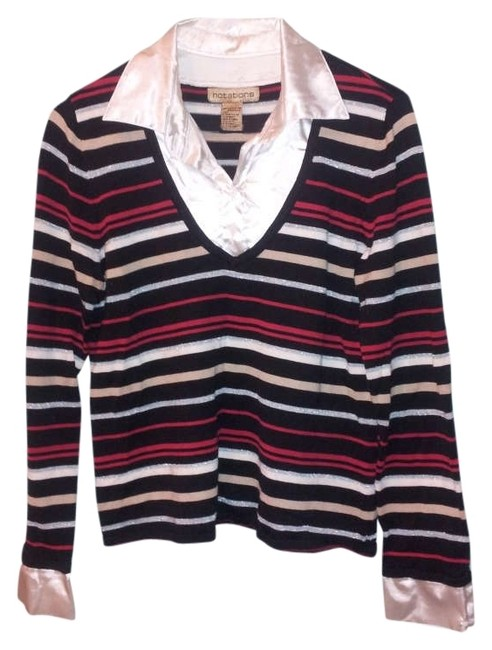 Notations Striped Sparkle White Black Red Gold Sweater
