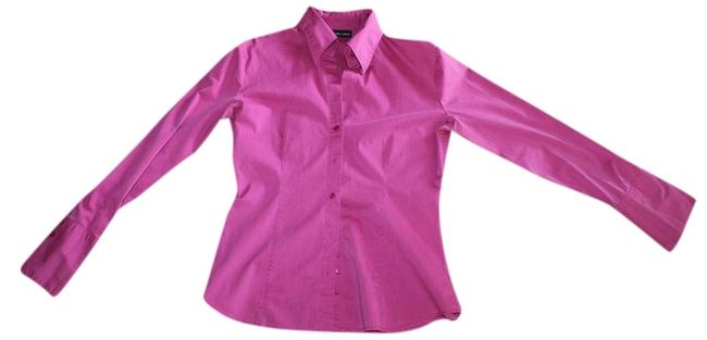 New York & Company Stretchy Collared Fitted Button Down Shirt Fushia