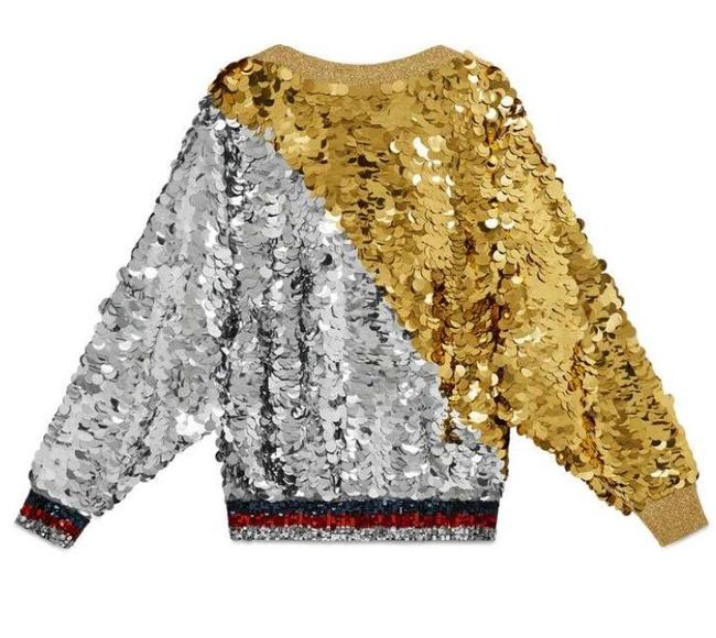 Item - Sequin Embellished Multi Colored Silver Gold Sweater