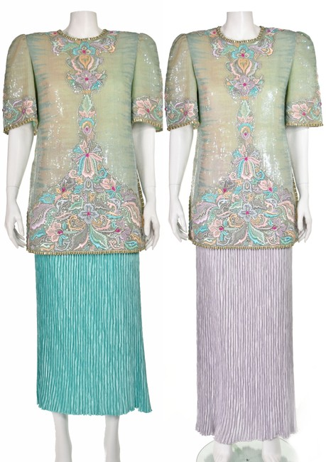 Item - Pastel Sequined and Beaded Tunic with Two Skirts Mid-length Formal Dress Size 12 (L)