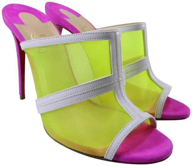 Item - Multicolor Interdite 100mm Neon Yellow White Pink Mesh Open Toe D003 Mules/Slides Size EU 38.5 (Approx. US 8.5) Regular (M, B)