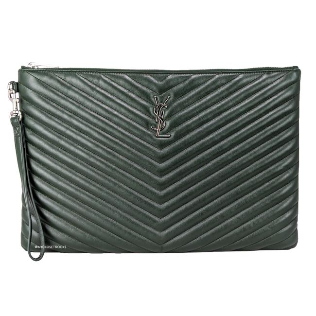 Item - Large Monogram Pouch Green Leather Wristlet