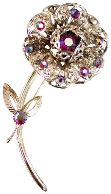 Item - Gold Red Pink Vintage Flower Brooch