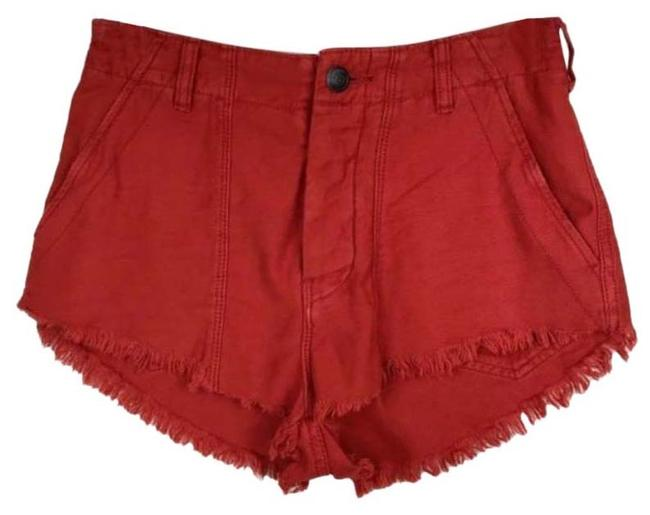 Item - Orange Red High Rise Button Fly Shorts Size 2 (XS, 26)