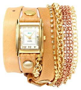 La Mer Collections LA MER COLLECTIONS Crystal and Chain Triple Wrap Watch Camel/Gold