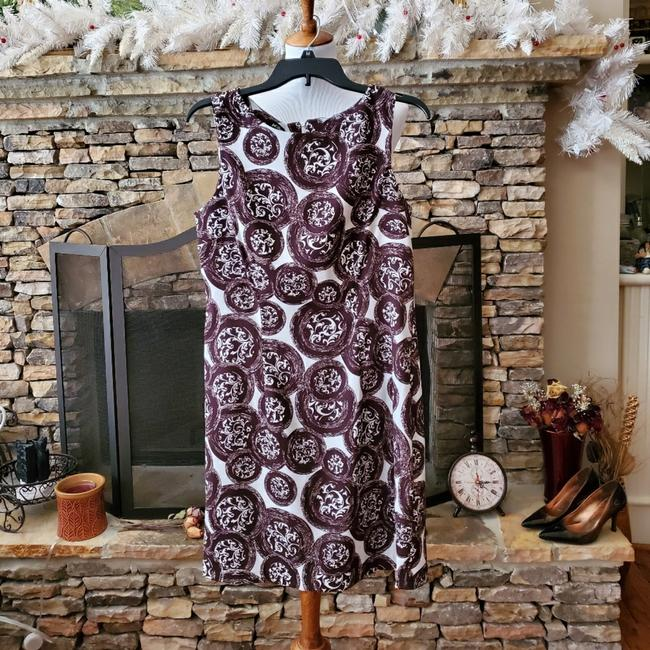 Item - Brown White Career Sleeveless with Floral Print Mid-length Work/Office Dress Size 12 (L)