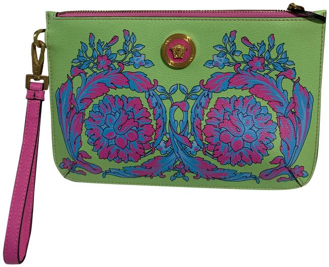 Item - Green Pink Blue and Blk Leather Wristlet
