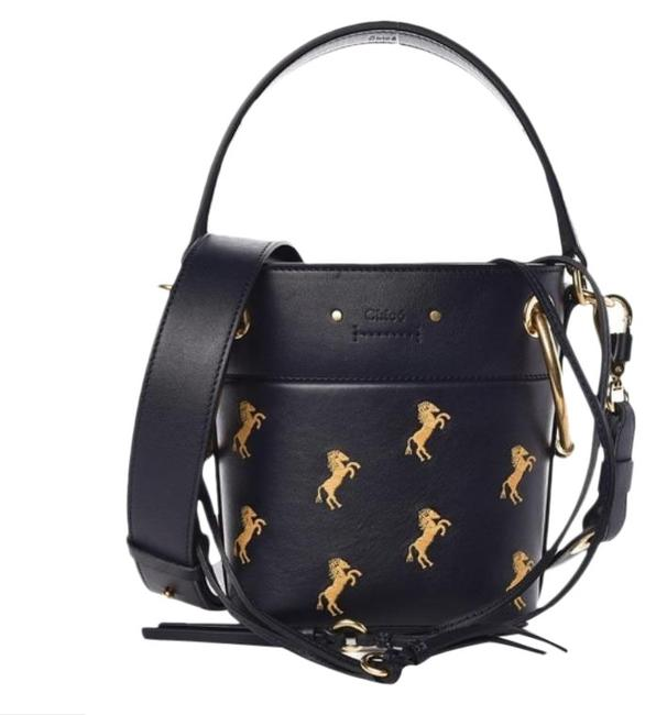 Item - Bucket Roy Embroidered Navy Leather Cross Body Bag