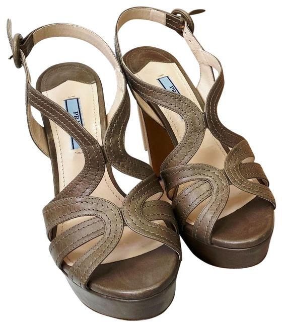 Item - Taupe New Vitello Shine Stitch Giunco Wooden Heels Platforms Size EU 37.5 (Approx. US 7.5) Regular (M, B)