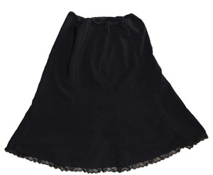 Valia Flare Lace Trim Skirt Black