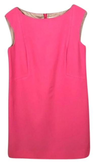 Item - Pink Wool Cap Sleeve Shift Work/Office Short Cocktail Dress Size 8 (M)