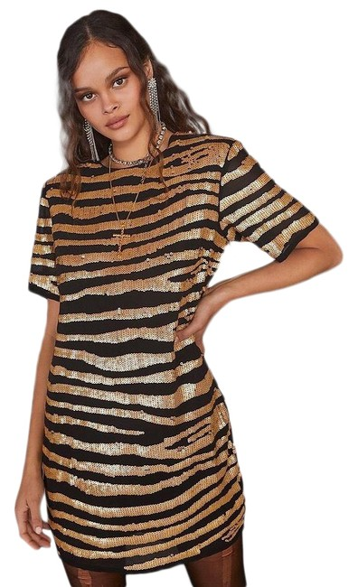 Item - Black and Gold Girl Gone Wild Zebra Sequin Night Out Dress Size 2 (XS)