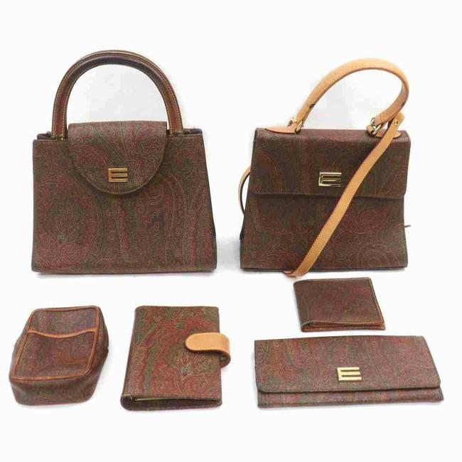 Item - Set Of 6 Bags Tan/Red Leather/Canvas Tote