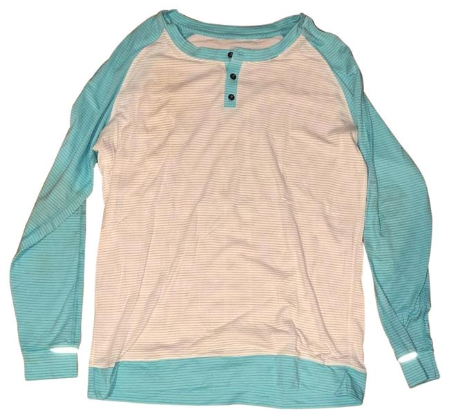 Item - Blue and White Thumb Hole Activewear Top Size 8 (M)
