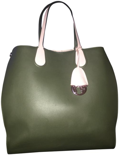 Item - Addict Tote Vertical In And Green & Pink Leather Shoulder Bag