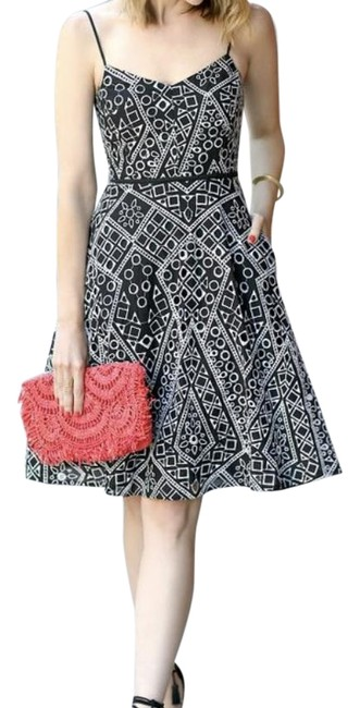 Item - Black White Geo Lace Geometric Embroidered Eyelet Fit Flare Mid-length Cocktail Dress Size 4 (S)